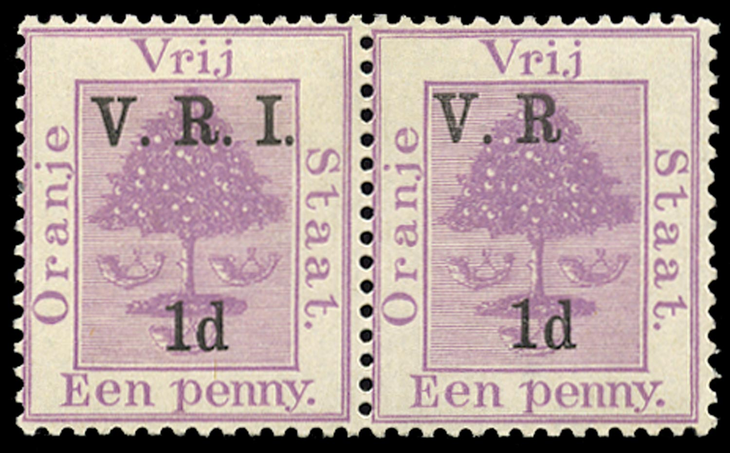 ORANGE FREE STATE 1900  SG102g Mint 1d on 1d purple error I and stop after R omitted