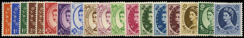 GB 1955-58  SG540/56 Mint U/M o.g. set of eighteen