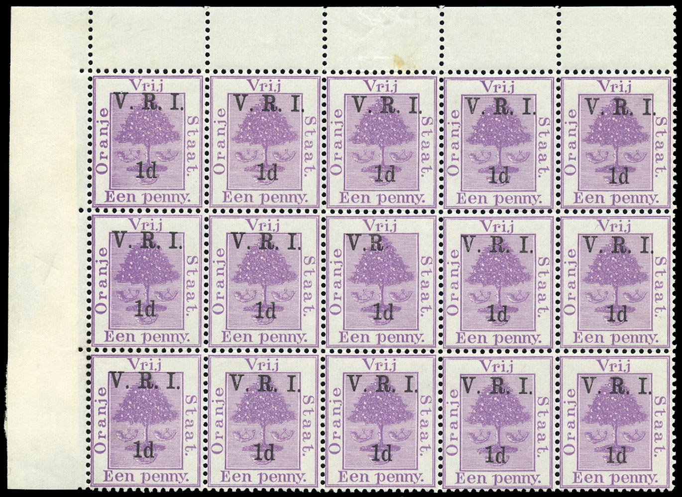 ORANGE FREE STATE 1900  SG102ga Mint 1d on 1d purple error I omitted and raised stop after R