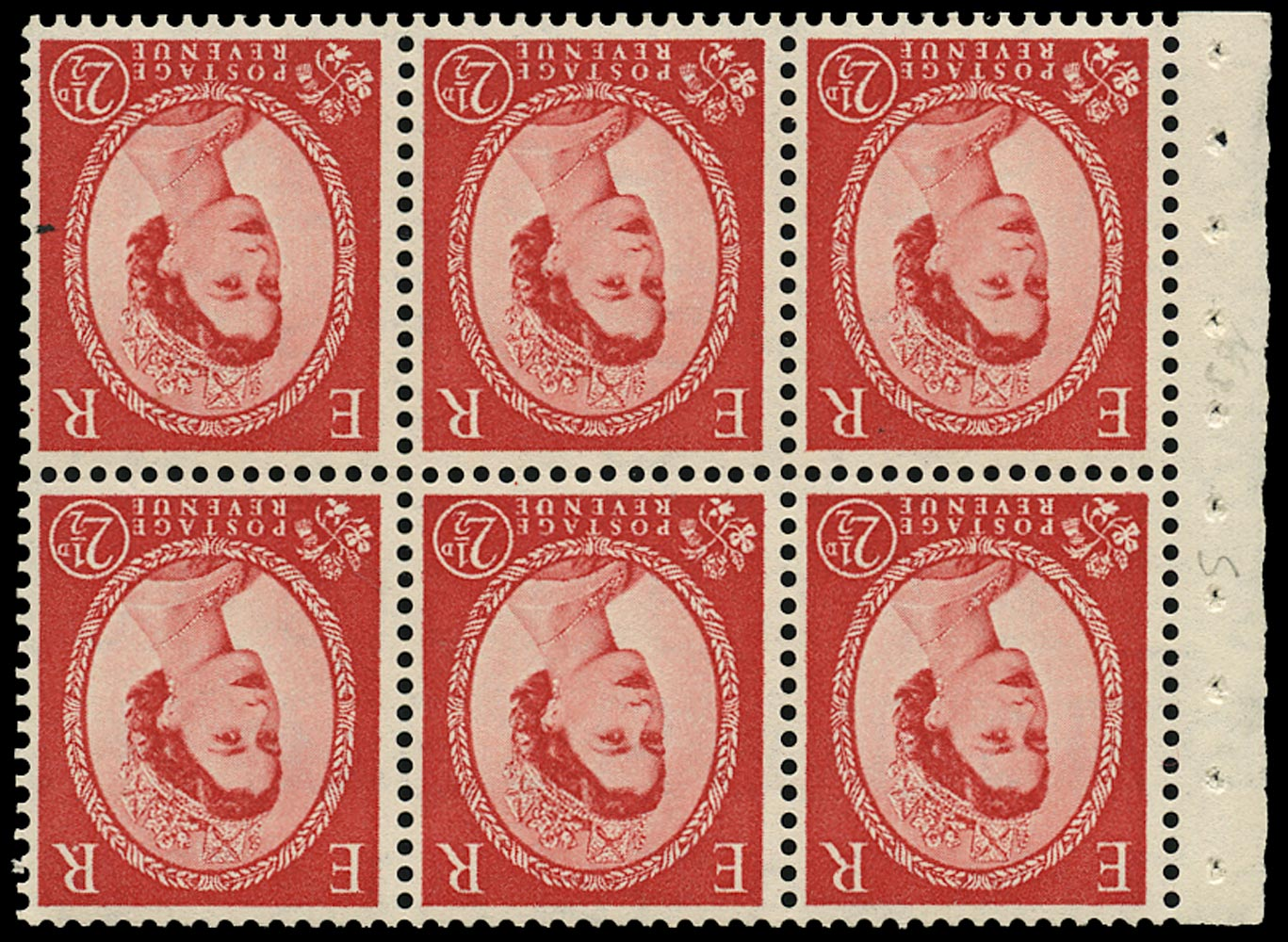 GB 1955  SG544blWi Booklet pane - Dotted 'R' flaw variety