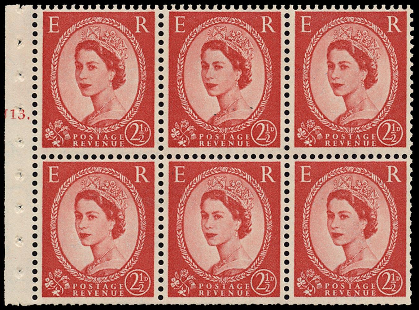 GB 1958  SG574l Booklet pane - Cylinder J13.T (Dot)