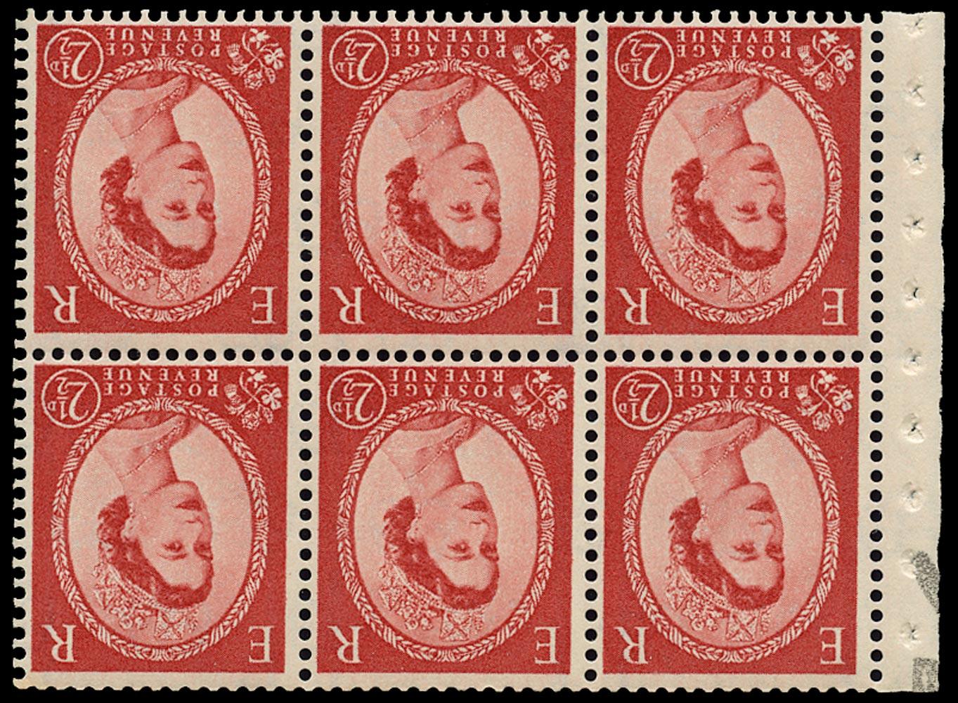 GB 1959  SG591lWi Booklet pane - Wmk. Crowns inverted, Graphite lines