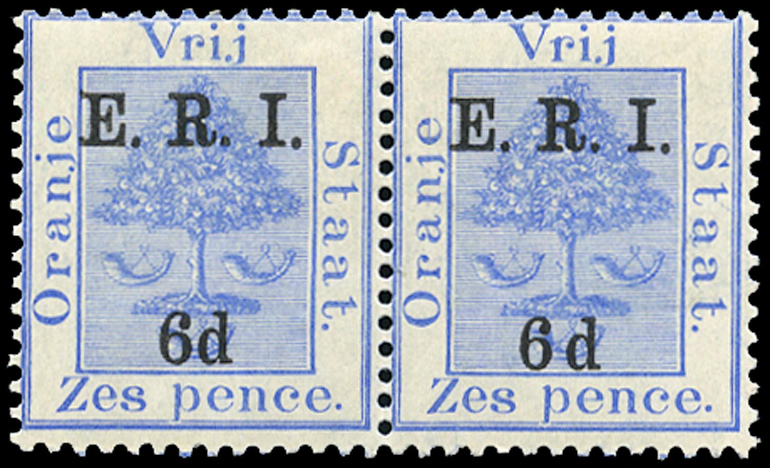 ORANGE FREE STATE 1902  SG137b Mint 6d on 6d blue variety wide space between 6 and d