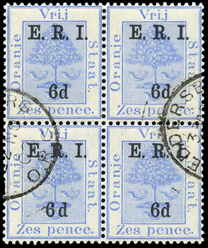 ORANGE FREE STATE 1902  SG137b Used 6d on 6d blue variety wide space between 6 and d