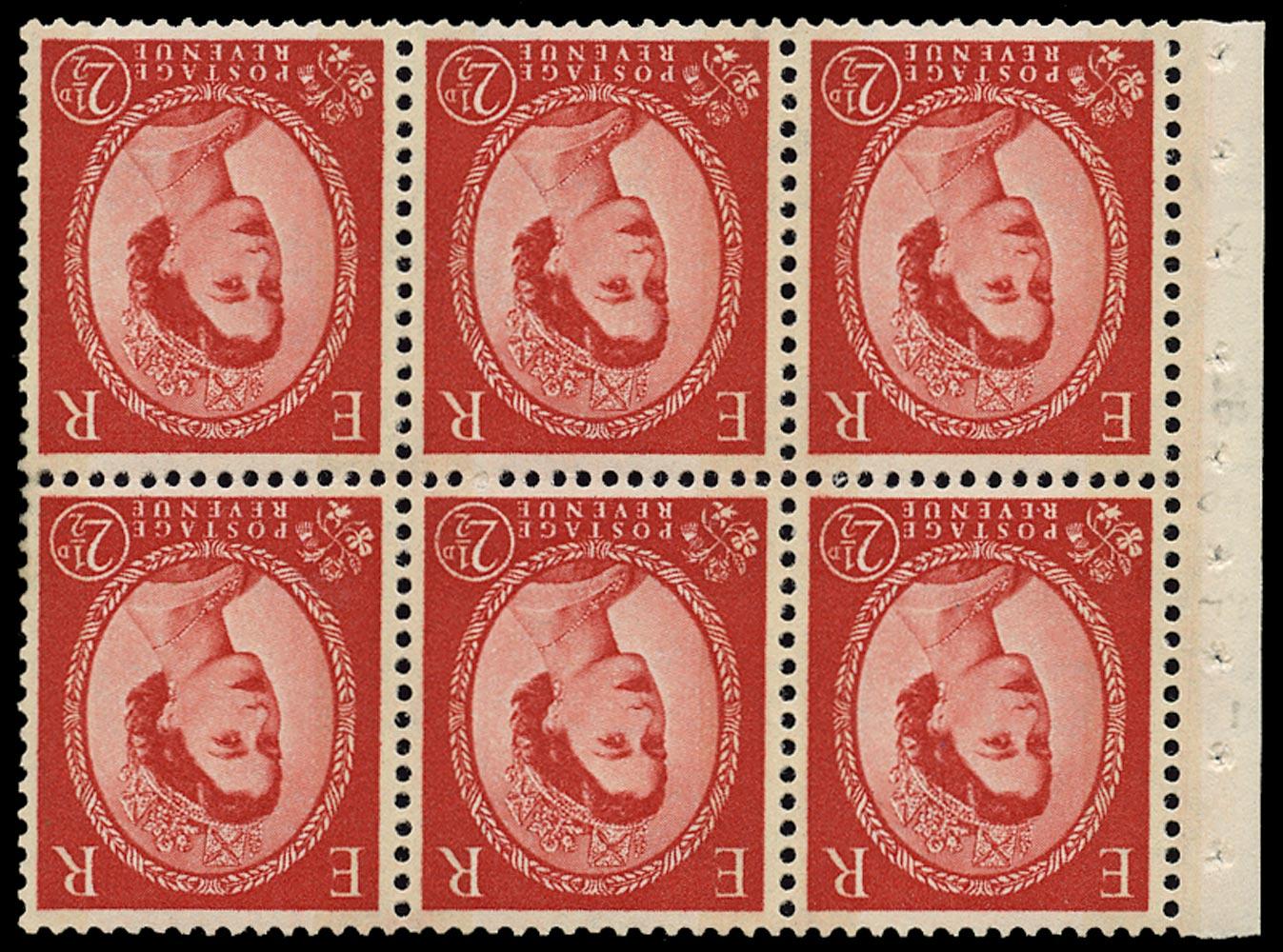 GB 1961  SG614lWi Booklet pane - Wmk. Crowns inverted, Two bands, blue Phosphor