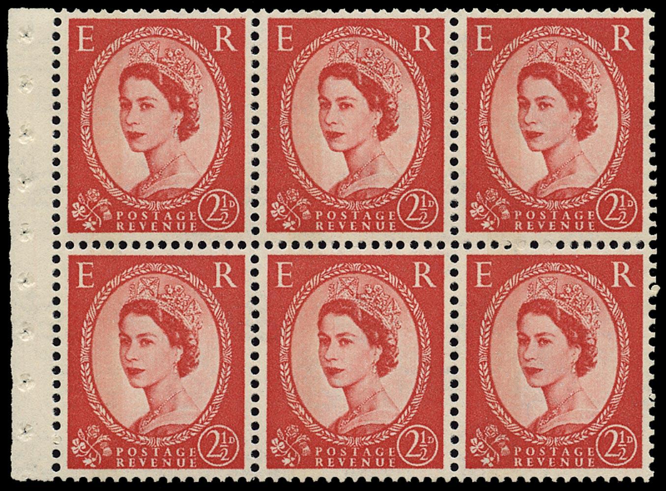 GB 1962  SG614al Booklet pane - Wmk. Crowns, One band blue Phosphor