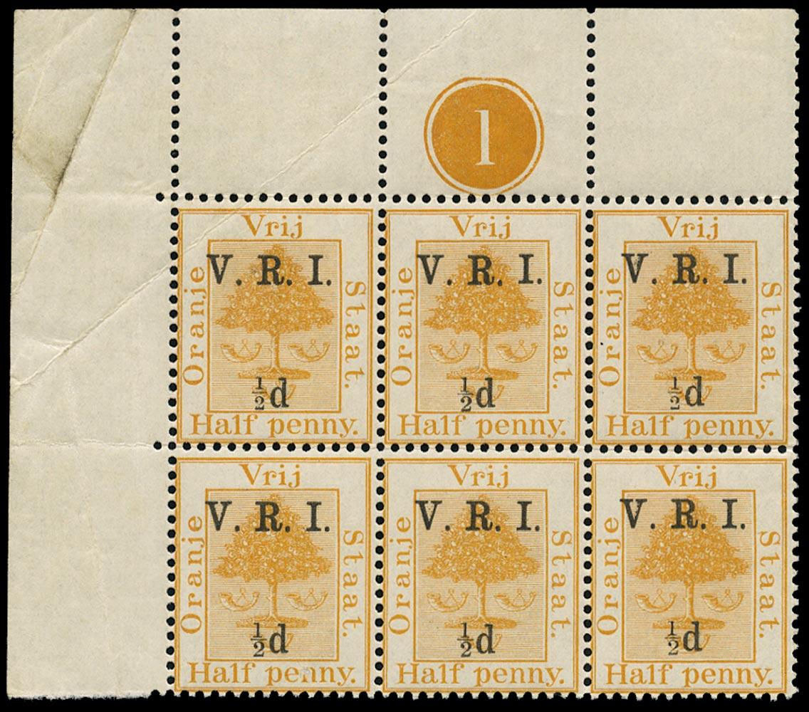 ORANGE FREE STATE 1900  SG101g Mint unmounted ½d on ½d orange variety Small ½