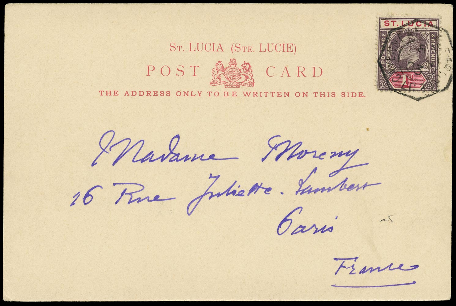ST LUCIA 1903  SG59 Cover to Paris with CAYENNE A FORT DE FRANCE paquebot cancel