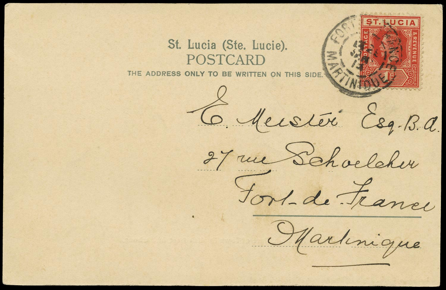 ST LUCIA 1914  SG79b Cover to Martinique cancelled on arrival at Fort de France