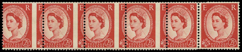 GB 1961  SG574e var Mint - Misperforated coil strip of six