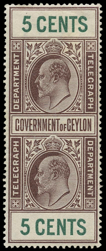 CEYLON 1903  SGT150 Telegraph KEVII 5c brown and green watermark Crown over CA mint