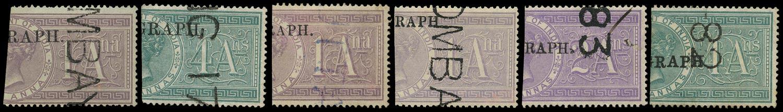 INDIA 1881  SGT21, 23/5, 28, 31 Telegraph