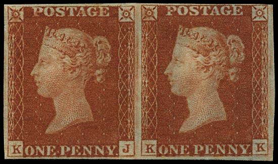 GB 1841  SG8 Pl.55 Mint - unused o.g. horizontal pair (KJ-KK)