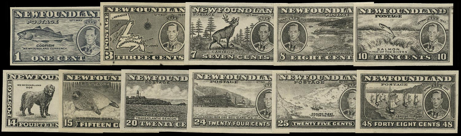NEWFOUNDLAND 1937  SG257/67 Proof Long Coronation set of 11 plate proofs in black