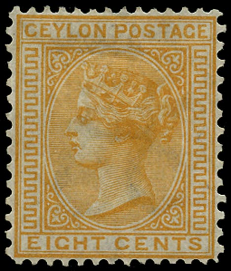 CEYLON 1872  SG135 Mint 8c orange-yellow watermark CC perf 14x12½