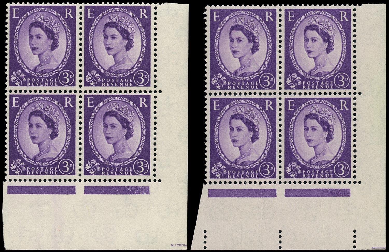 GB 1958  SG575da/db Mint - Phantom 'R' retouch varieties