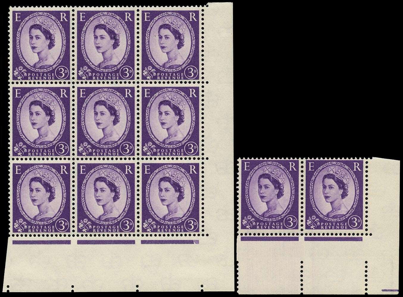 GB 1958  SG575e/ea Mint - Phantom 'R' and retouch varieties