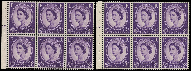 GB 1958  SG575l Booklet pane - Cylinders K17T (Dot & No dot)