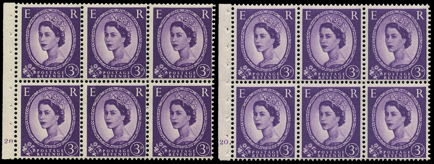 GB 1962  SG575l Booklet pane - Cylinders K20 (Dot and No dot)