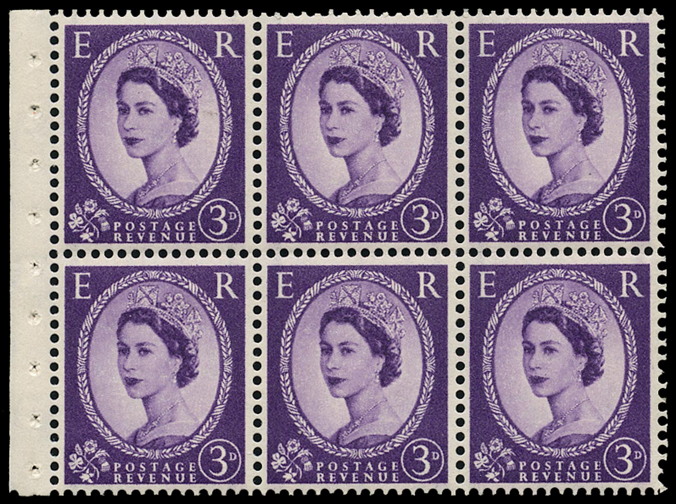GB 1958  SG592l Booklet pane - Long tailed 'R' variety