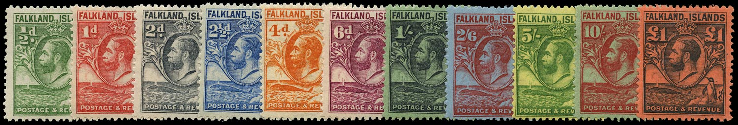 FALKLAND ISLANDS 1929  SG116/26 Mint Whale and Penguin set of 11 to £1