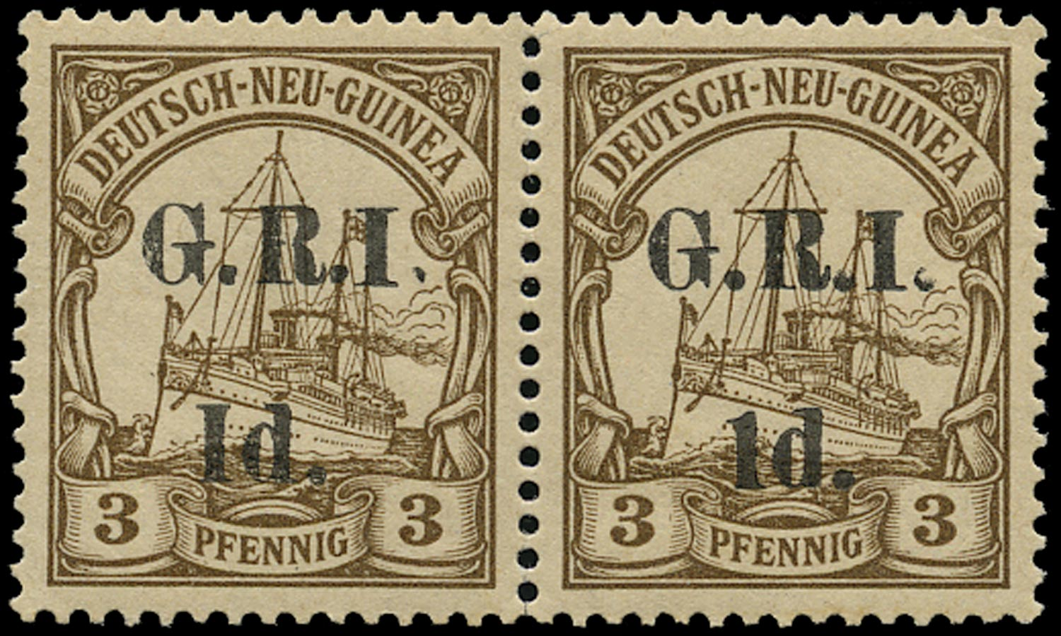 NEW GUINEA 1914  SG16a Mint 1d on 3d brown variety I for 1