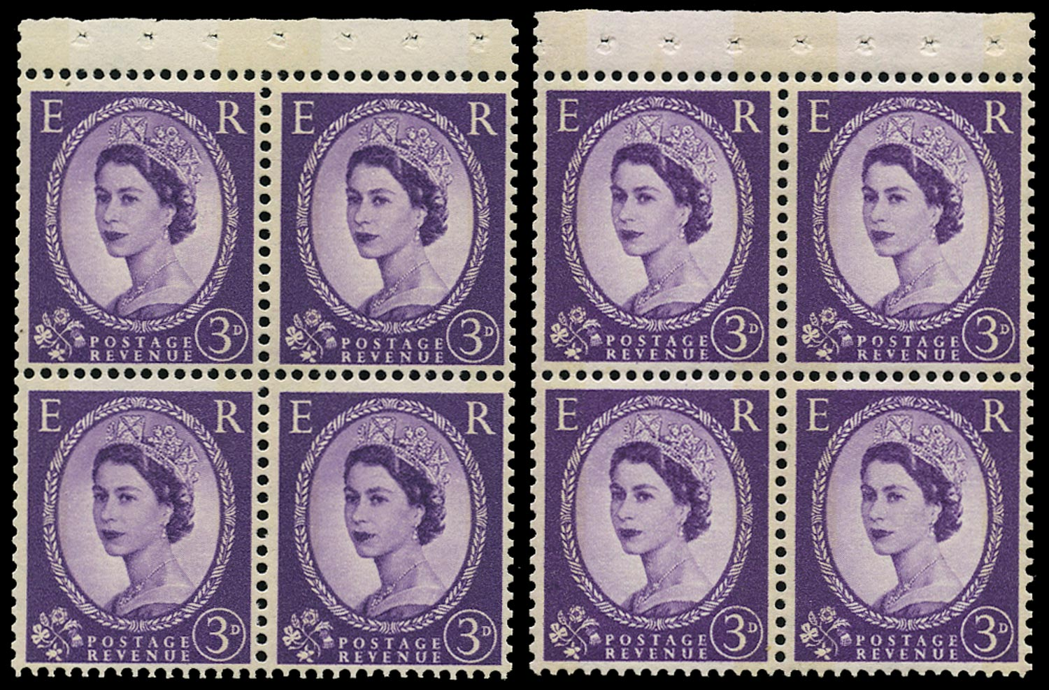 GB 1961  SG615m Booklet pane - Wmk. Sideways to left and right