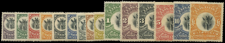 TANGANYIKA 1922  SG74/88 Mint Giraffe set of 15 to £1