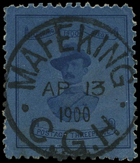 C.G.H. - MAFEKING 1900  SG22 Used 3d deep blue on blue Baden-Powell 21mm wide design