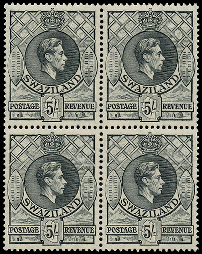 SWAZILAND 1938  SG37b Mint unmounted KGVI 5s grey perf 13½x14 block of 4