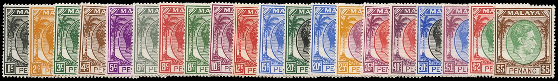 MALAYA - PENANG 1949  SG3/22 Mint unmounted KGVI set of 20 to $5