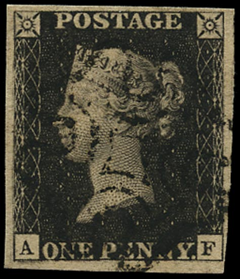 GB 1840  SG2 Pl.5 Penny Black VFU example lettered AF, black MC