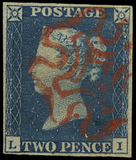 GB 1840  SG5 Pl.1 Used VFU example lettered LI, red MC