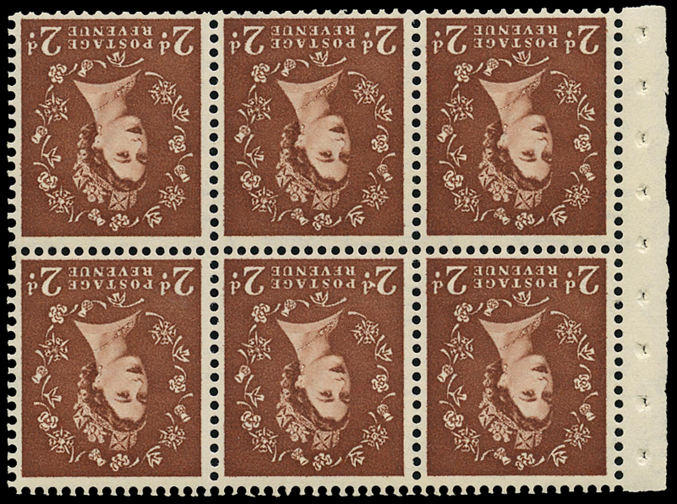 GB 1956  SG543blWi Booklet pane - 'Spot after 2' variety