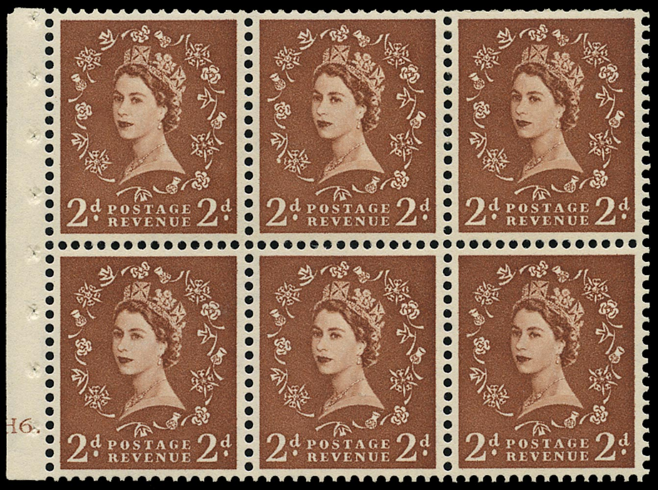 GB 1956  SG543bl Booklet pane - Cylinder H6 (Dot) with 'Daffodil stem flaw' variety