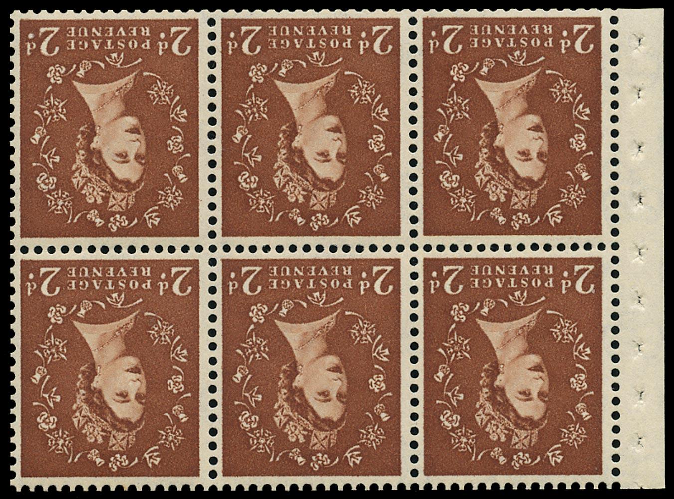 GB 1961  SG573lWi Booklet pane - Wmk. Crowns inverted