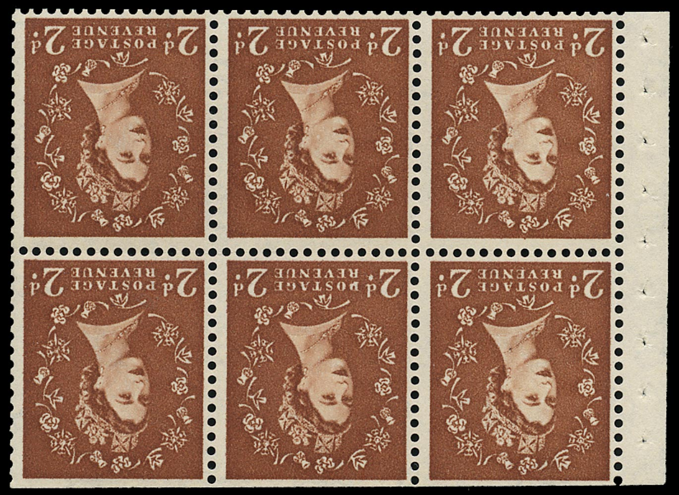 GB 1961  SG573lWi Booklet pane - Wmk. Crowns inverted with 'D for P' variety