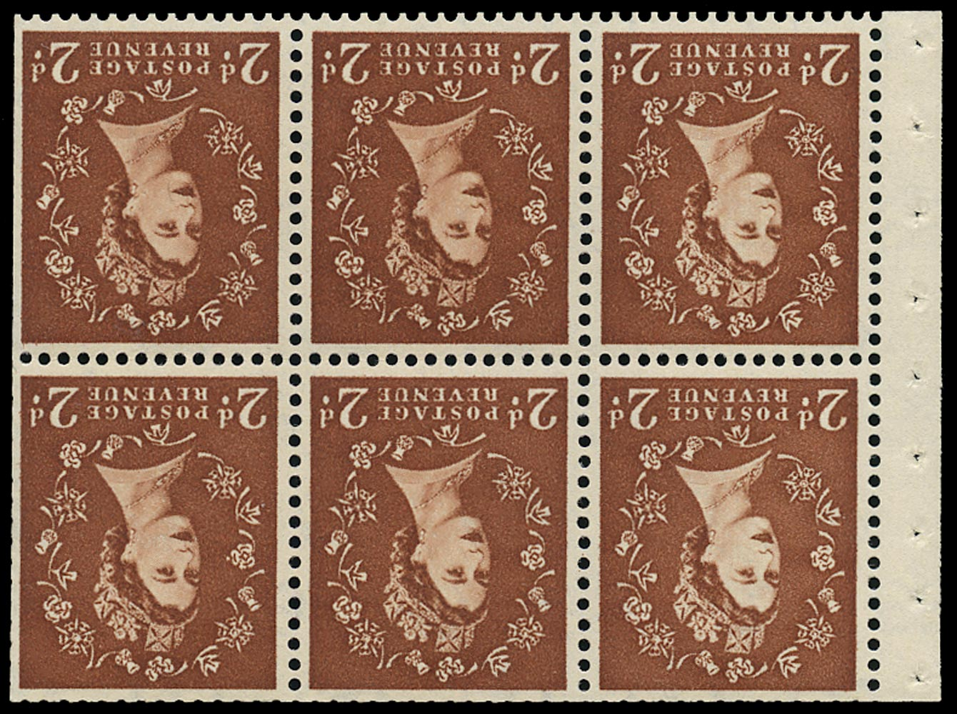 GB 1961  SG573lWi Booklet pane - Wmk. Crowns inverted with 'Spot on Shamrock' variety
