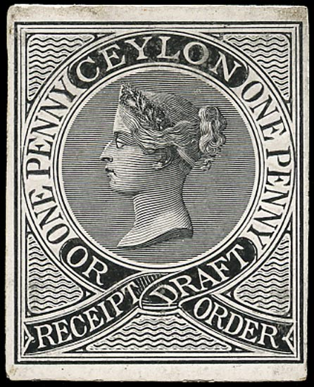 CEYLON 1862 Revenue Receipt Draft or Order Die proof