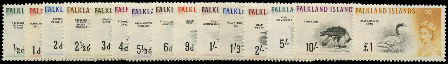 FALKLAND ISLANDS 1960  SG193/207 Mint unmounted Birds set of 15 to £1