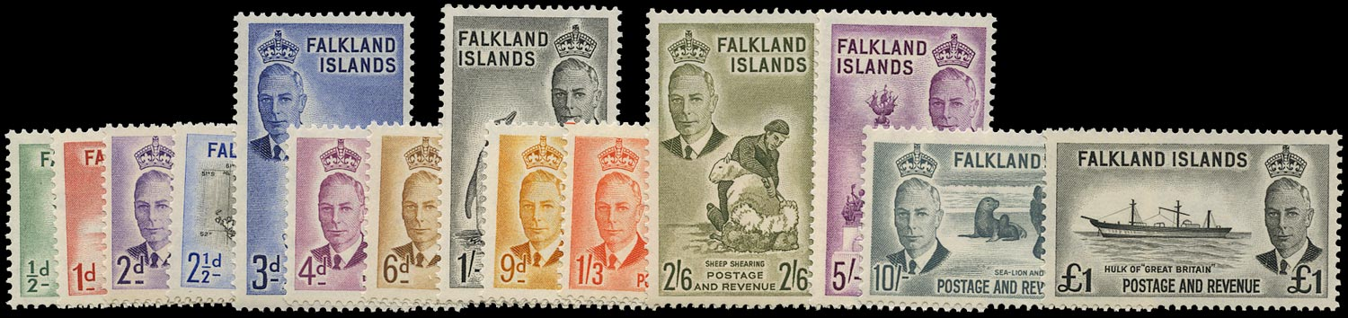 FALKLAND ISLANDS 1952  SG172/85 Mint unmounted KGVI set of 14 to £1
