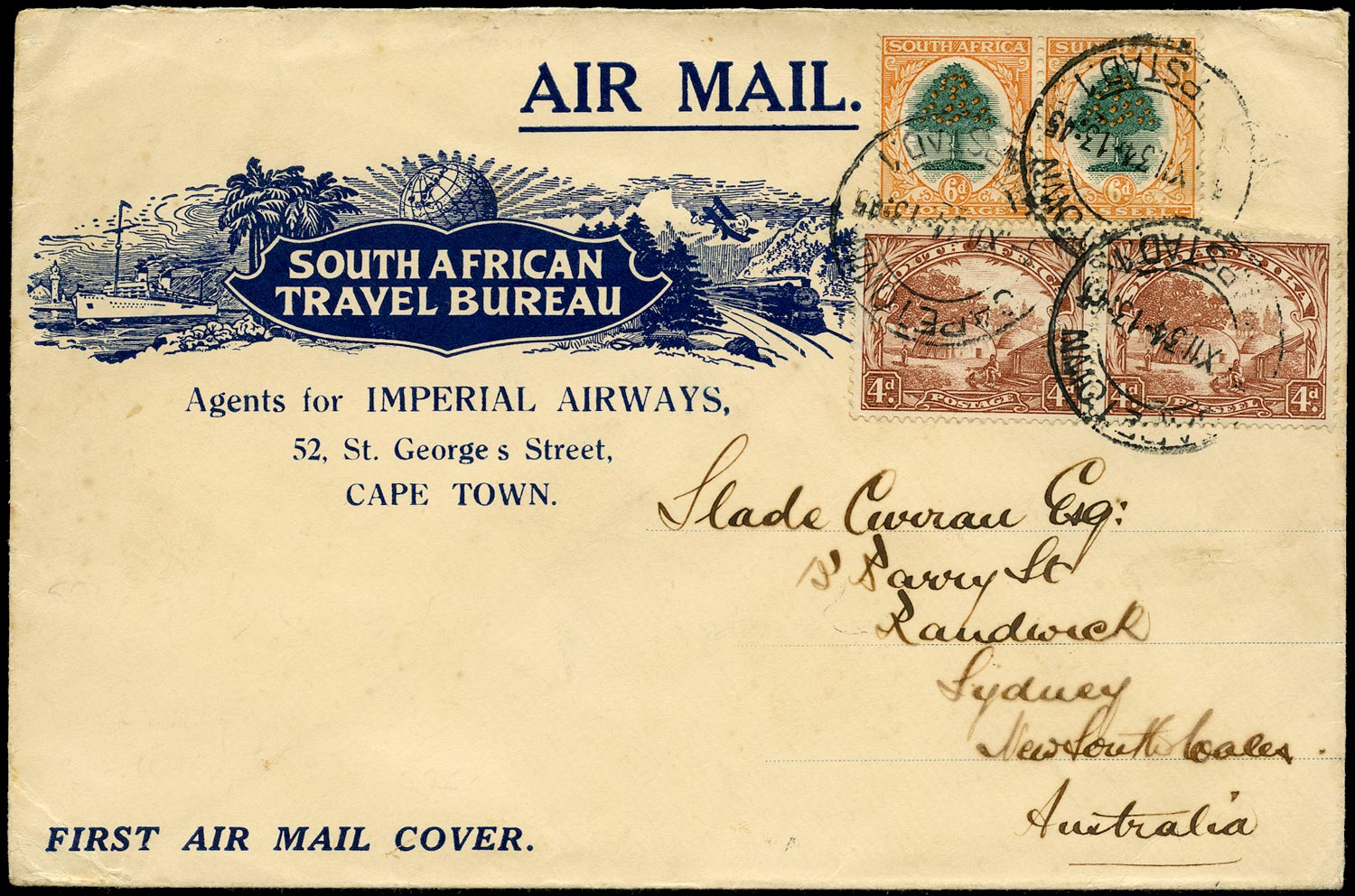 SOUTH AFRICA 1934  SG46b, 47w Cover from Cape Town to Australia with 4d SPEAR FLAW