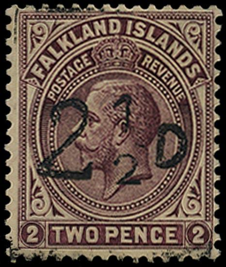 FALKLAND ISLANDS 1928  SG115 Mint South Georgia Provisional 2½d on 2d purple-brown