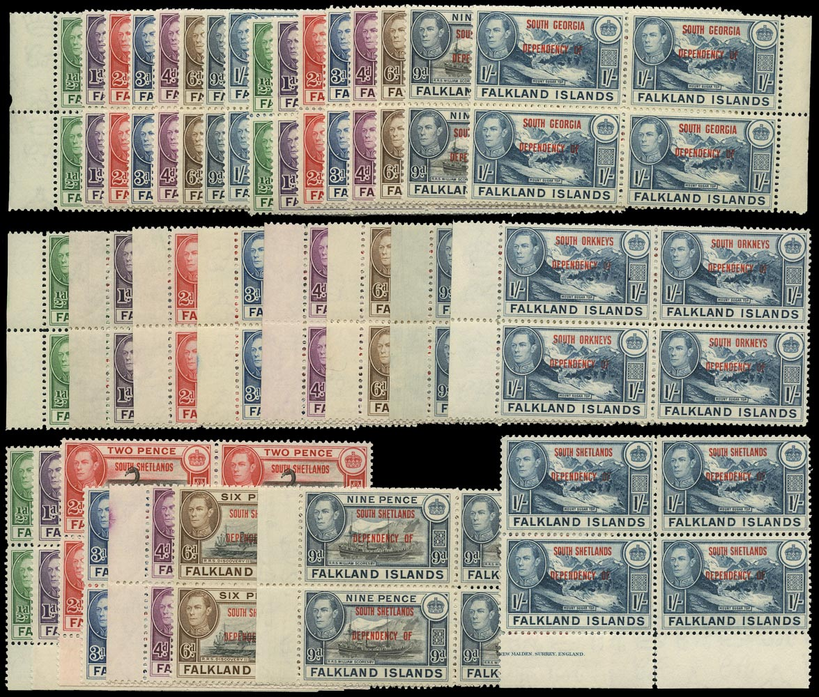 FALKLAND ISLAND DEPS 1944  SGA1/D8 Mint unmounted set of 32 from all four territories