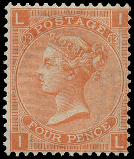 GB 1872  SG93 Pl.13 Mint unused o.g. example (IL)