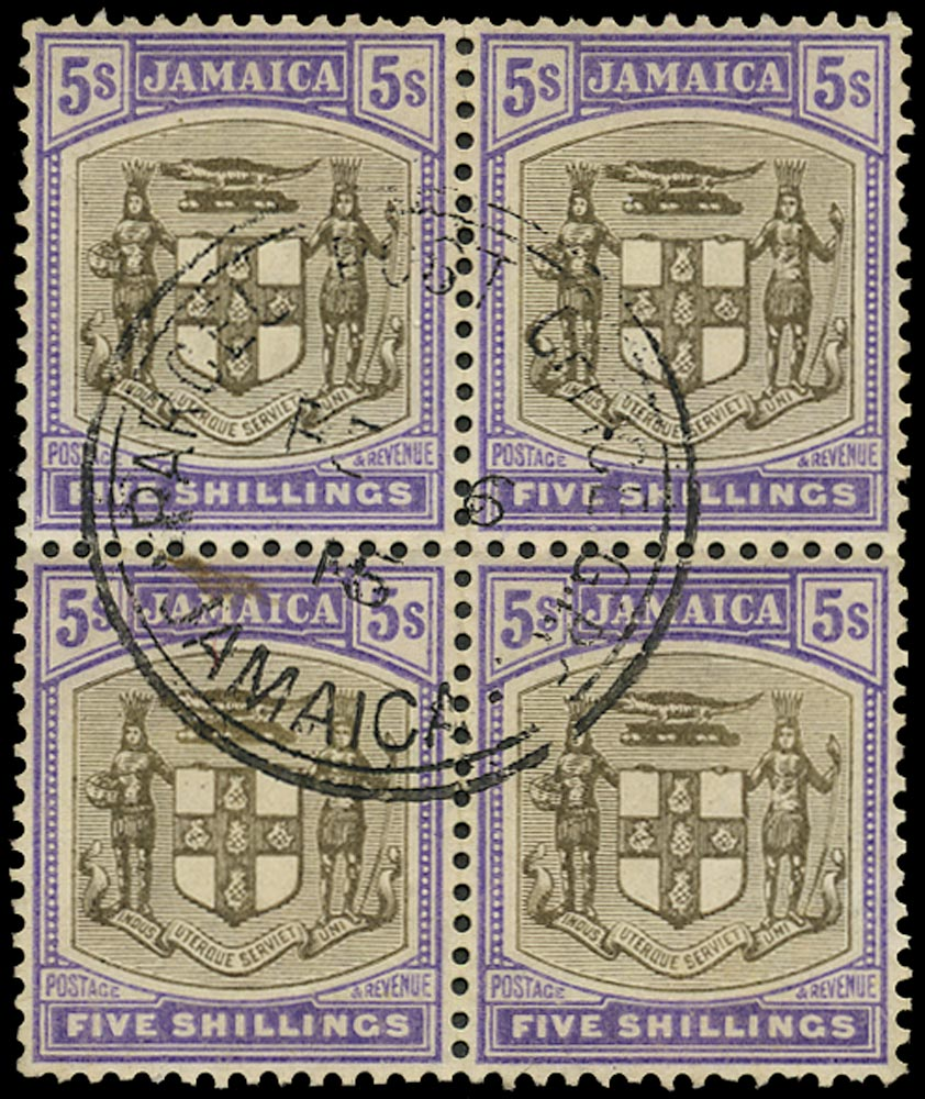 JAMAICA 1905  SG45 Used 5s grey and violet Arms block of 4