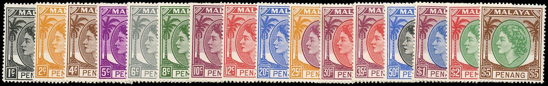 MALAYA - PENANG 1954  SG28/43 Mint unmounted QEII set of 16 to $5