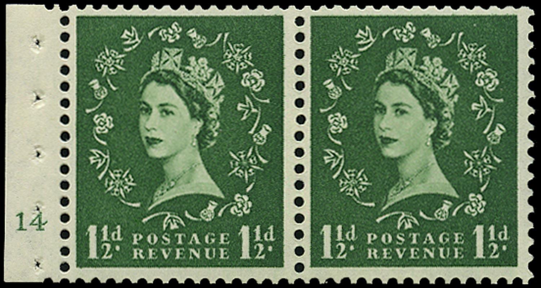 GB 1957  SG542n Booklet pane - Cyl.14 (No dot)