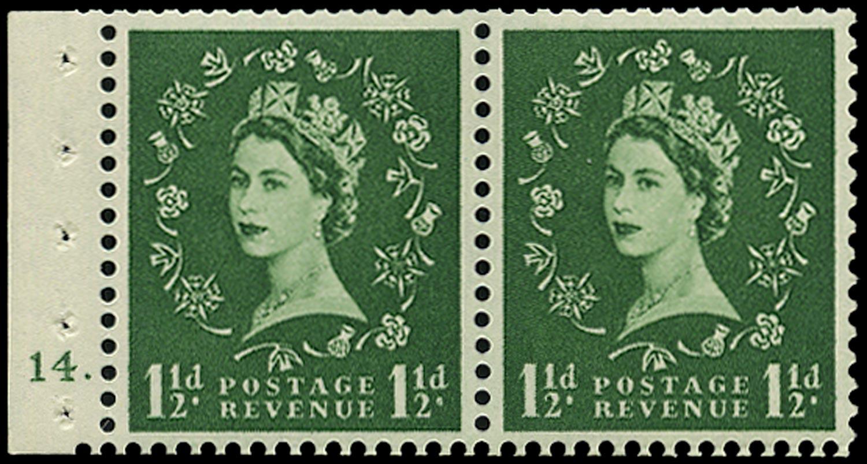 GB 1957  SG542n Booklet pane - Cyl.14 (Dot)