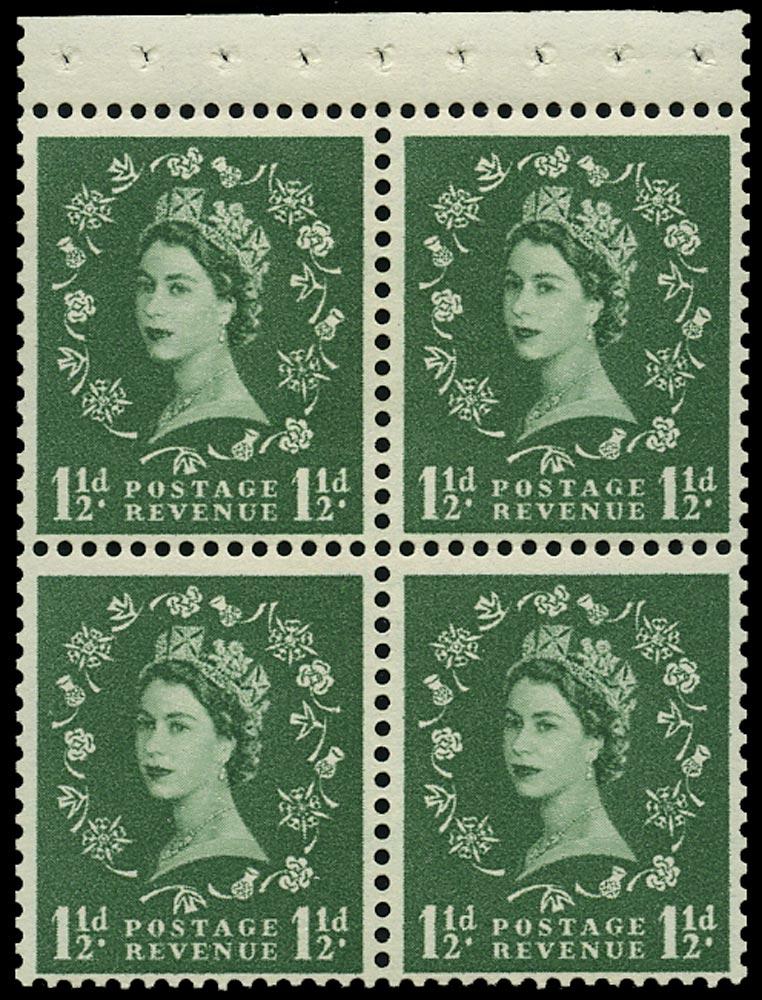GB 1961  SG572mb Booklet pane - Wmk. Crowns sideways to right, Perf type AP